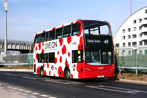 Abellio London bus branded in poppies
