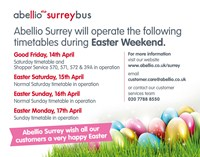 Abellio Surrey Bus Easter service times